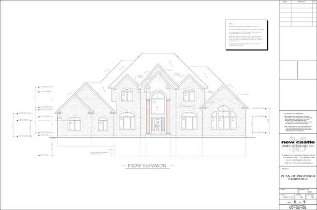 Sample Front Elevation Training : New castle drafting design inc sample house plans gallery
